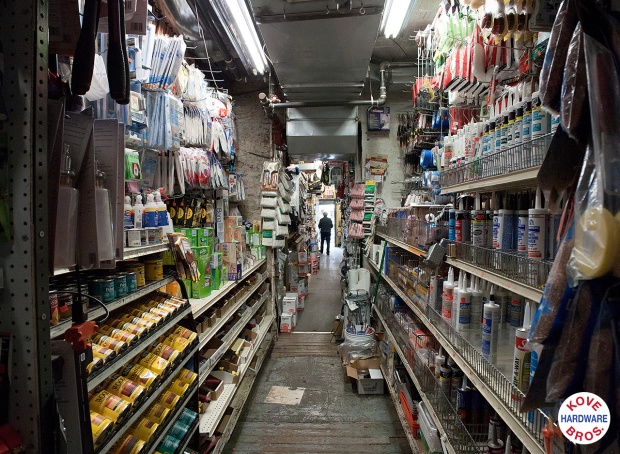 Looking down aisle in Kove Brothers Hardware