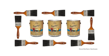photo composite: paint mixing services, cans and brushes