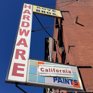 photo: hardware sign on Kove Brothers Hardware building