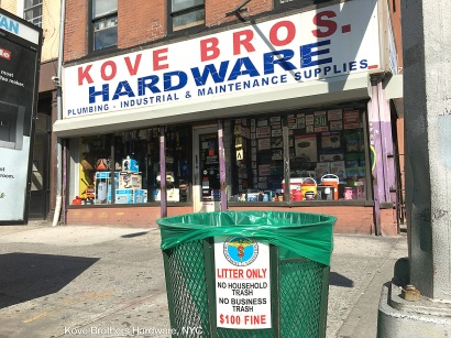 trash basket in front of Kove Brothers Hardware