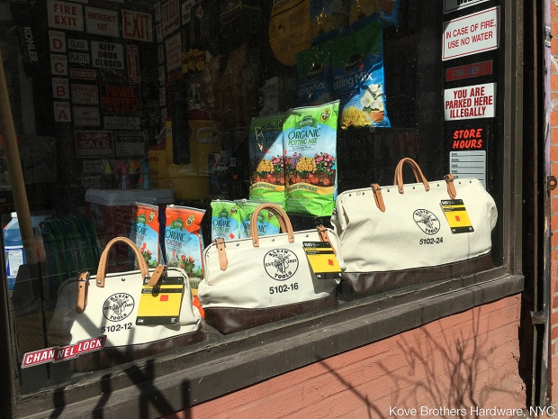 photo: store window display of Klein Tools tool bags
